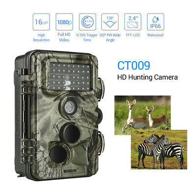 "BOBLOV 1080p 30fps 16MP Trail Game Camera Diginal Animal IP66 120° PIR 2.4"" LCD"