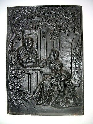 Antique Victorian High Relief Cast Iron Figural Plaque Scholar Garden Sculpture