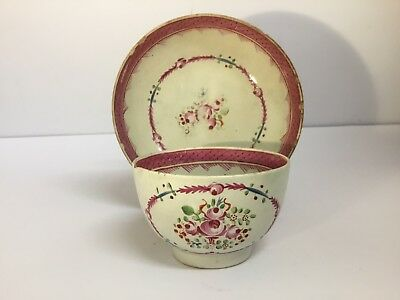 Rare English Late 18th Century Pearlware Pottery Tea Bowl & Saucer, Hand Painted