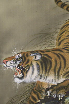 """JAPANESE HANGING SCROLL ART Painting """"Tiger"""" Asian antique  #E5110"""