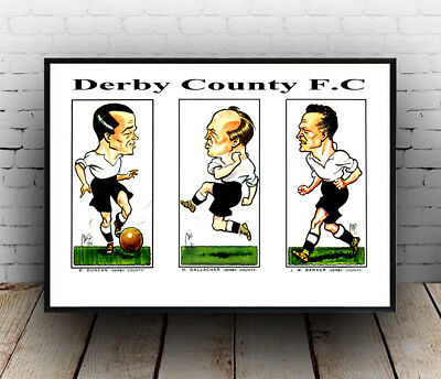 Derby County Cig card illustrations: Repro cigarette card ,poster, Wall art.