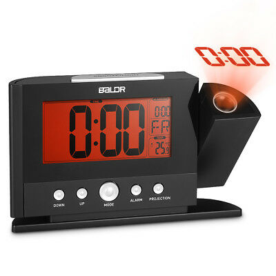 Baldr Digital Alarm Clock 180 Degree Rotation Time Projection Snooze Function Te