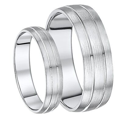 His & Hers 5 &7mm Sterling Silver Heavy Weight Double Grooved Wedding Ring