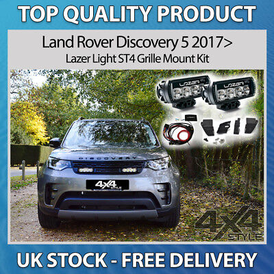 Land Rover Discovery 5 2017> Lazer Lamps St4 Led Spot Light Grille Mount Kit Set