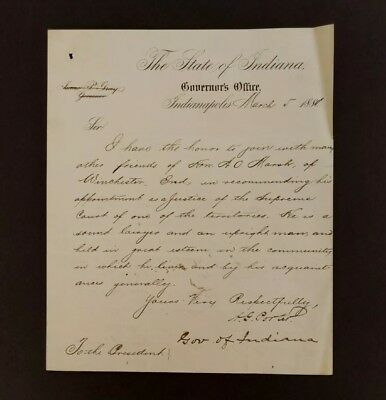 1881 Albert G Porter Autograph ~ Governor Indiana Exec. Letter To Pres Garfield