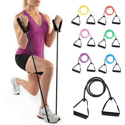 Exercise Pilates Gym Yoga Crossfit Fitness Tube Resistance Band Set Workout Gear