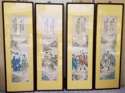 "Exceptional Set 4 LARGE 71""X23"" Antique Chinese Paintings With Calligraphy"