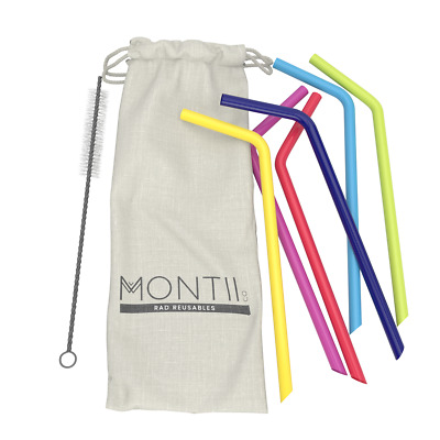 NEW Montii Reusable Silicon Drinking Straws Set 6 Bent Cleaning Brush Montiico