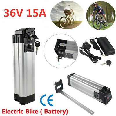 36V 15A Li-ion Electric E-Bike Battery Pack Silver Fish Lockable W/2A Charger UK
