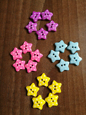 Star buttons with polka dots - various colours and quantity - size 18mm novelty