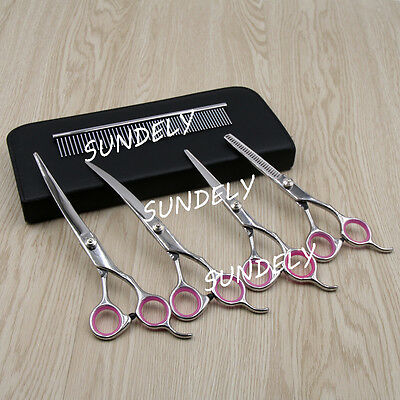 Pet Hair Scissors Set Dog Grooming Cutting &Thinning &Curved Shears Comb Tool-UK