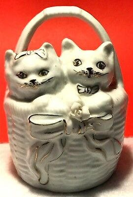 Vintage White Porcelain With Gold Trim  Kitty Cats In Basket Piggy Bank ~ As-Is