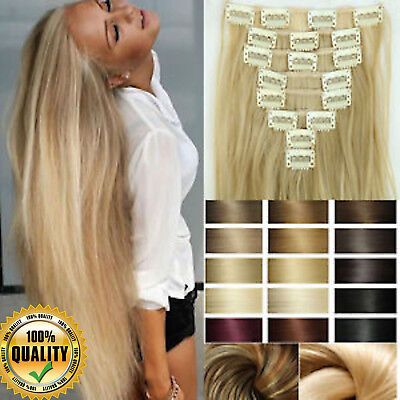 7 Bandes Extensions a Clips Cheveux Naturels Raide Remy Human Hair Extensions FS