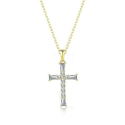 1Ct Diamond Cross Pendant Necklace with Chain 14K White Gold over Women's Men's