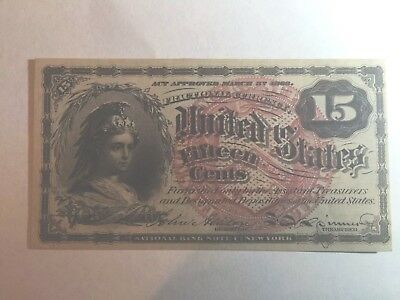 1863 US Fractional Currency Civil War FR1267 4th Issue 15c Choice UNC Watermark*