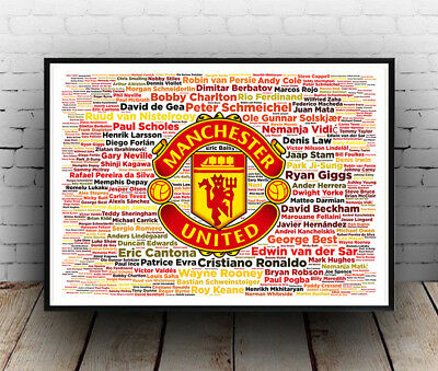 Manchester United Greatest Players, Man U, Football, Poster, Wall Art, All Sizes
