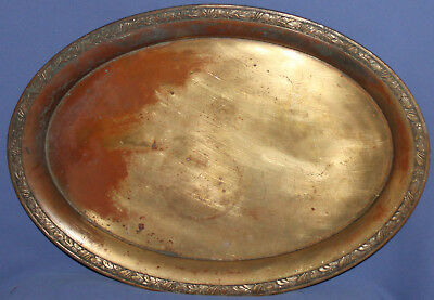 Antique Art Deco German Quist Floral Copper Serving Tray Brass/silver Plated