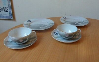 Vintage/antique 6 Piece Japanese Hand Painted Initialled Porcelain Tea Set