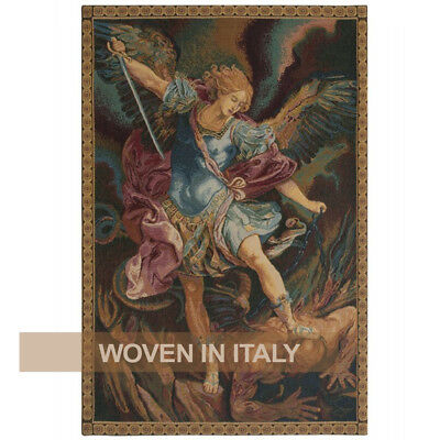 St Michael Archangel Religious Tapestry Wall Hanging Italian Woven Small Large