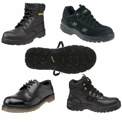 NEW Safety Shoes Boots Work Black Leather Steel Toe Cap Mens Womens Anti-nail