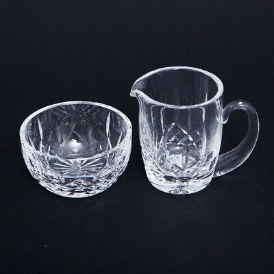 VTG Pair of 2 Waterford Cream Pitcher & Sugar Bowl Lismore Cut Crystal Ireland