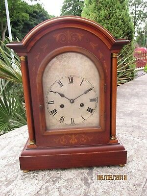 Large Edwardia Inlaid Mahogany 8 Day  Mantel clock by Hamburg American Clock Co.