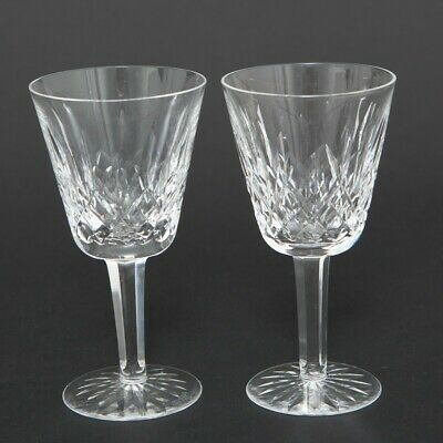 Set of Two (2) Waterford Cut Crystal Lismore Claret Wine Goblets Hock Stemware