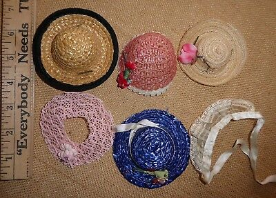 "Lot 6 X '50s Vogue Ginny Straw Lace 8"" Doll Hats Vintage Ginger Muffie"