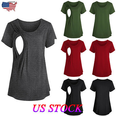 Women Pregnant Maternity Clothes Nursing Top Plain Breastfeeding T-Shirt Blouse