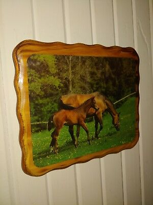 Vintage Wooden Mod Podge Horse Picture Beautiful Mother and Baby Horse Grazing