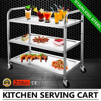 "3 Shelf Stainless Steel Catering Serving Trolley Cart Dolly Cart 17""X35"" Plate"