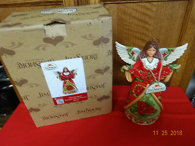 Jim Shore Christmas Beauty Red/green Angel With Poinsettia New In Box Heartwood