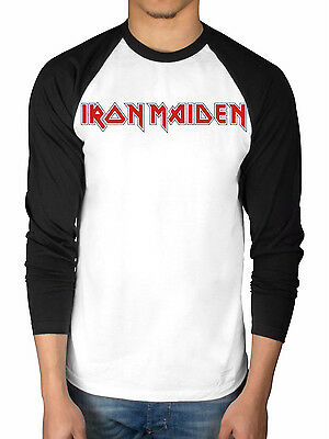 Official Iron Maiden Classic Logo Basebal Tee Raglan 2 Tone Book Souls Number Of