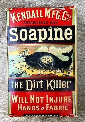 Vintage Box Of Soapine ~ Soap ~ Kendall Mfg ~  Great Graphics ~ Whale ~ Unopened