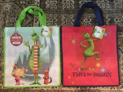 Dr. Seuss The Grinch Recycled Shopping Totes Shopper Bags SET of 2 NWT FREE SHIP