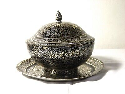 Antique Silver and Brass Bidri Covered Bowl and Plate Indian Islamic Persian