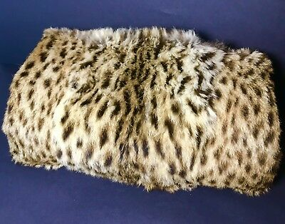 Fabulous Vintage Real Fur Muff Zip Pocket Bag Handle ~ Multi Function