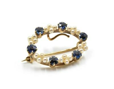Vintage Pearl and Sapphire Pin 14k Yellow Gold