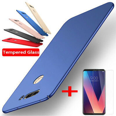 For LG V20 V30 K10 G7 G6 Case Thin Matte Hard PC Back Cover + 9H Tempered Glass