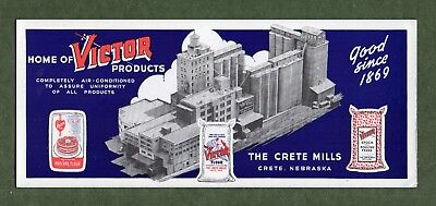 "THE CRETE MILLS Ink Blotter - 3⅝""x8¾""; Victor Flour, Feeds; Crete NE; Great Cond"