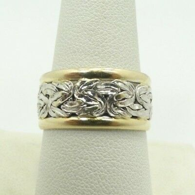 Very Nice 14K 10mm YellowGold Border Whute Gold Byzantine Center Ring Sz 8 D5957