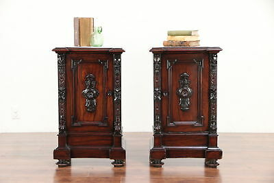 Pair of Italian Rosewood Antique Nightstands or End Tables, Marble Tops #30055