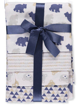 Cribmates Baby Boys' 4-Pack Flannel Receiving Blankets