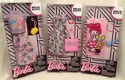 Barbie HELLO KITTY Fashion Pack Lot Of 3 New Styles