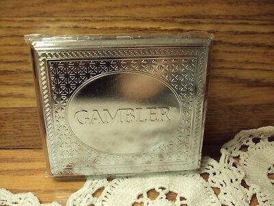 Silver Metal GAMBLER CLASSIC CIGARETTE CASE ~ Fits 100 mm & King Size