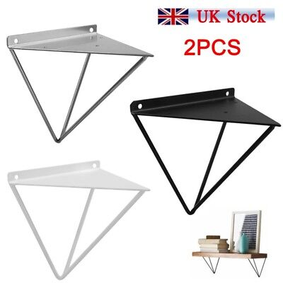 2PCS Durable Hairpin Industrial Wall Shelf Support Bracket Metal Prism Mount