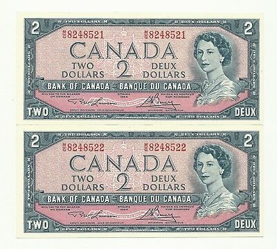 2 x 1954 CANADA TWO DOLLAR BANK NOTES (UNC/CON)