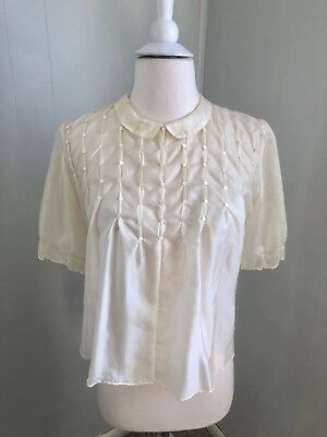Vintage 1950s Sheer Nylon Cap Sleeves Tiny Button Trim Blouse Small/Med