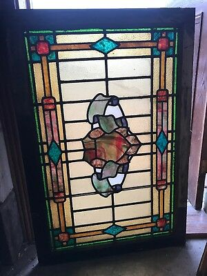 SG2669 antique stained glass landing window 30 x 45