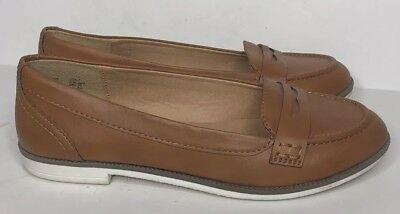 7a2ee6ed039 Womens American Eagle Faux Tan Brown Leather Slip On Penny Loafers Shoes  Size 7